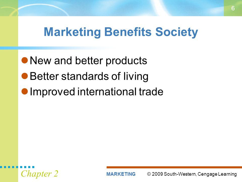© 2009 South-Western, Cengage LearningMARKETING Chapter 2 6 Marketing Benefits Society New and better products Better standards of living Improved international trade