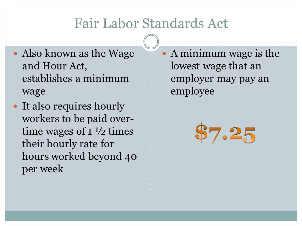 Fair Labor Standards Act Also known as the Wage and Hour Act, establishes a minimum wage It also requires hourly workers to be paid over- time wages of 1 ½ times their hourly rate for hours worked beyond 40 per week