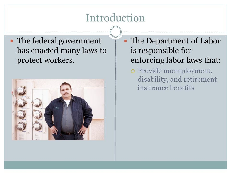 Introduction The federal government has enacted many laws to protect workers.