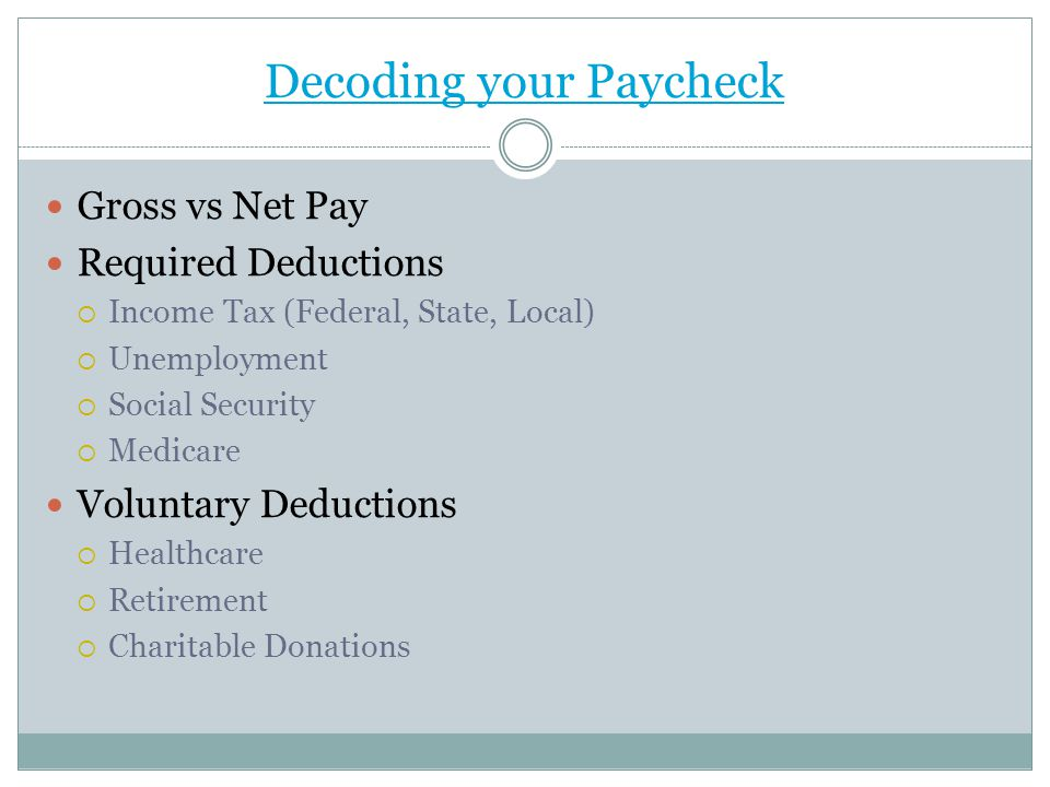 Decoding your Paycheck Gross vs Net Pay Required Deductions  Income Tax (Federal, State, Local)  Unemployment  Social Security  Medicare Voluntary Deductions  Healthcare  Retirement  Charitable Donations