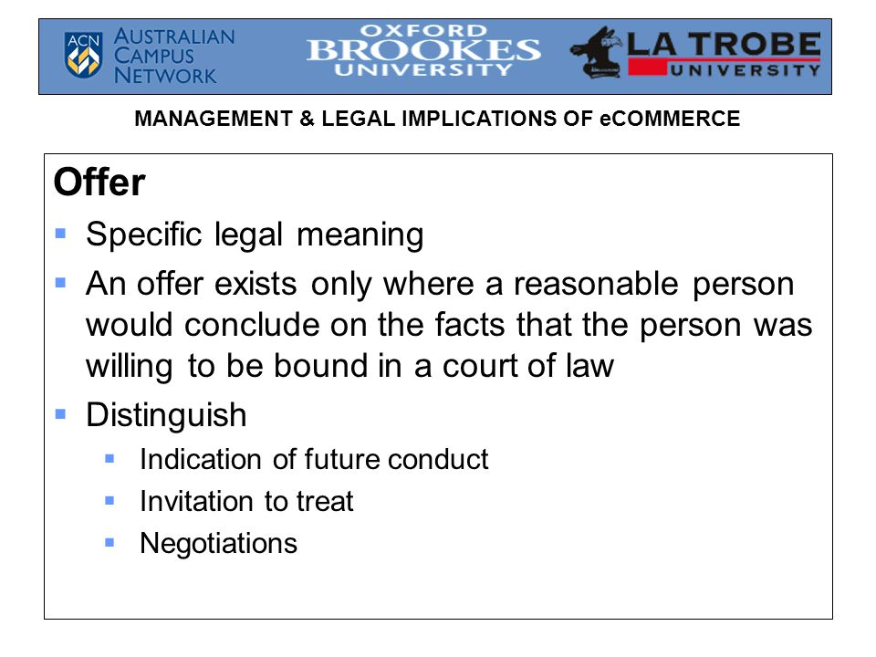 Management Legal Implications Of Ecommerce Week 2 Law Of Contract