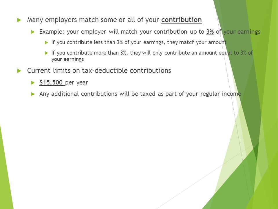  Many employers match some or all of your contribution  Example: your employer will match your contribution up to 3% of your earnings  If you contribute less than 3% of your earnings, they match your amount  If you contribute more than 3%, they will only contribute an amount equal to 3% of your earnings  Current limits on tax-deductible contributions  $15,500 per year  Any additional contributions will be taxed as part of your regular income
