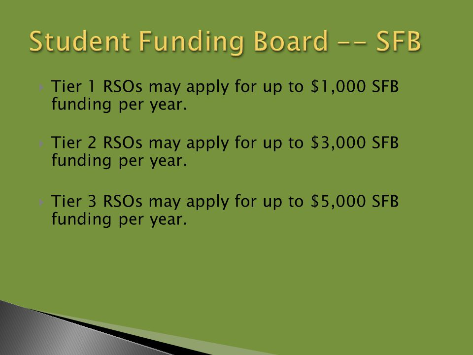  Tier 1 RSOs may apply for up to $1,000 SFB funding per year.