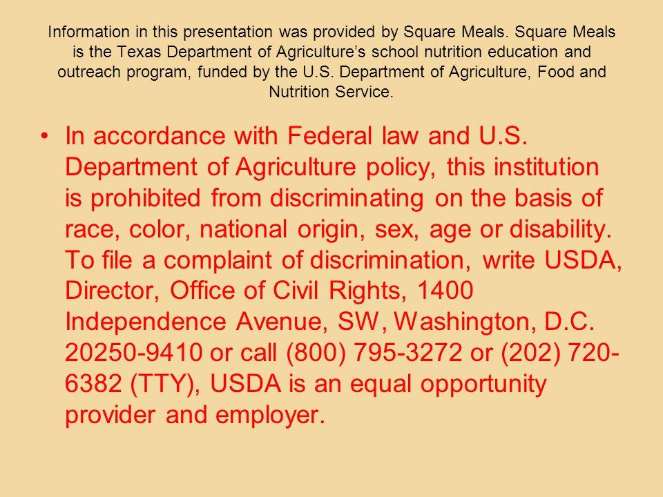Texas Public School Nutrition Policy at a Glance Elementary
