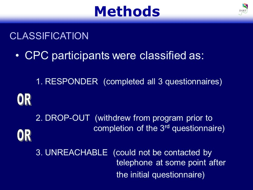 Methods CPC participants were classified as: 1. RESPONDER (completed all 3 questionnaires) 2.