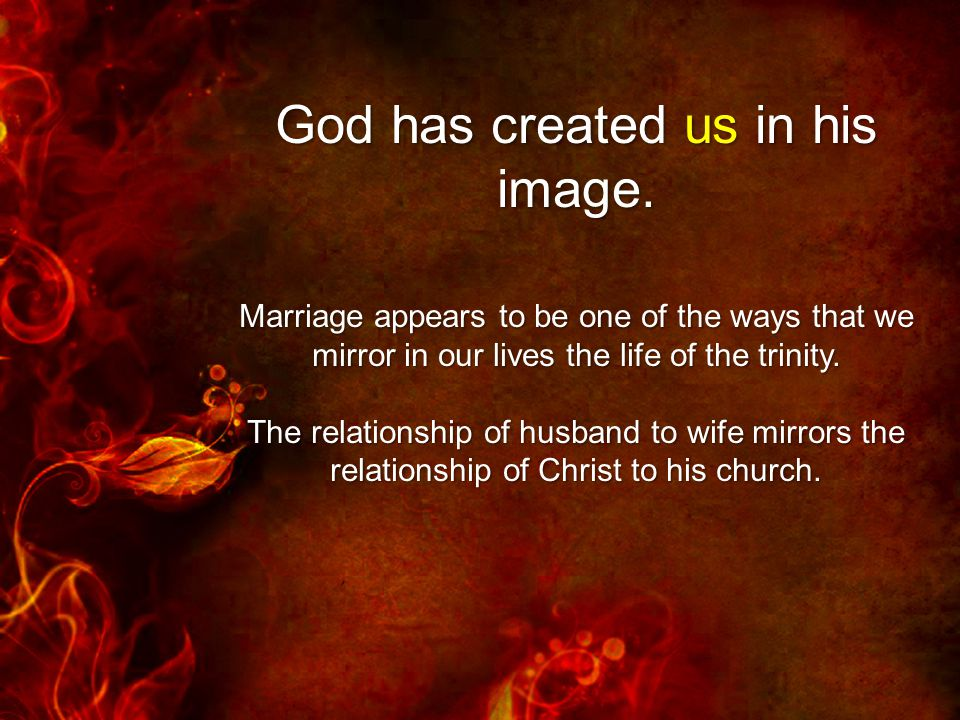 God has created us in his image.