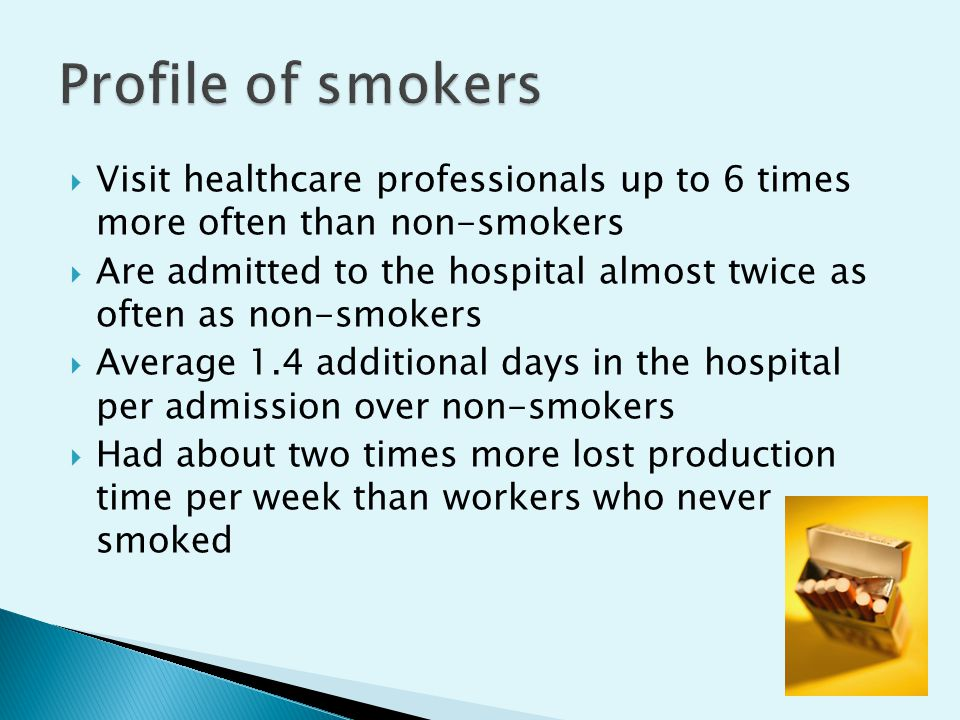  Visit healthcare professionals up to 6 times more often than non-smokers  Are admitted to the hospital almost twice as often as non-smokers  Average 1.4 additional days in the hospital per admission over non-smokers  Had about two times more lost production time per week than workers who never smoked