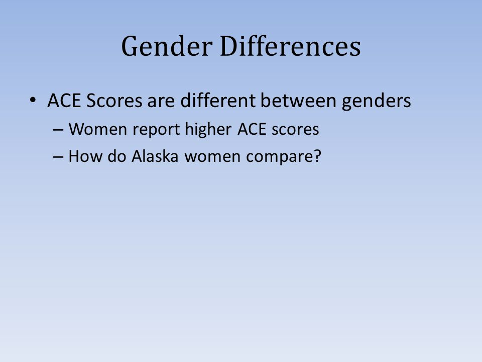 Gender Differences ACE Scores are different between genders – Women report higher ACE scores – How do Alaska women compare
