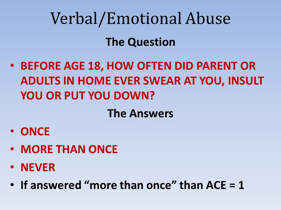 Verbal/Emotional Abuse The Question BEFORE AGE 18, HOW OFTEN DID PARENT OR ADULTS IN HOME EVER SWEAR AT YOU, INSULT YOU OR PUT YOU DOWN.