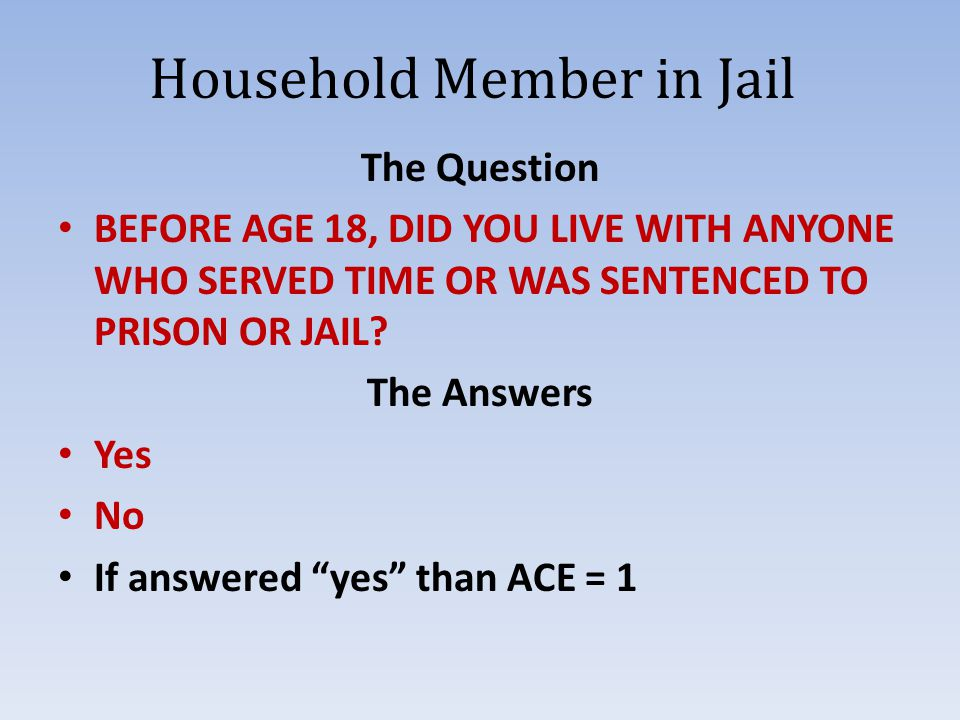 Household Member in Jail The Question BEFORE AGE 18, DID YOU LIVE WITH ANYONE WHO SERVED TIME OR WAS SENTENCED TO PRISON OR JAIL.