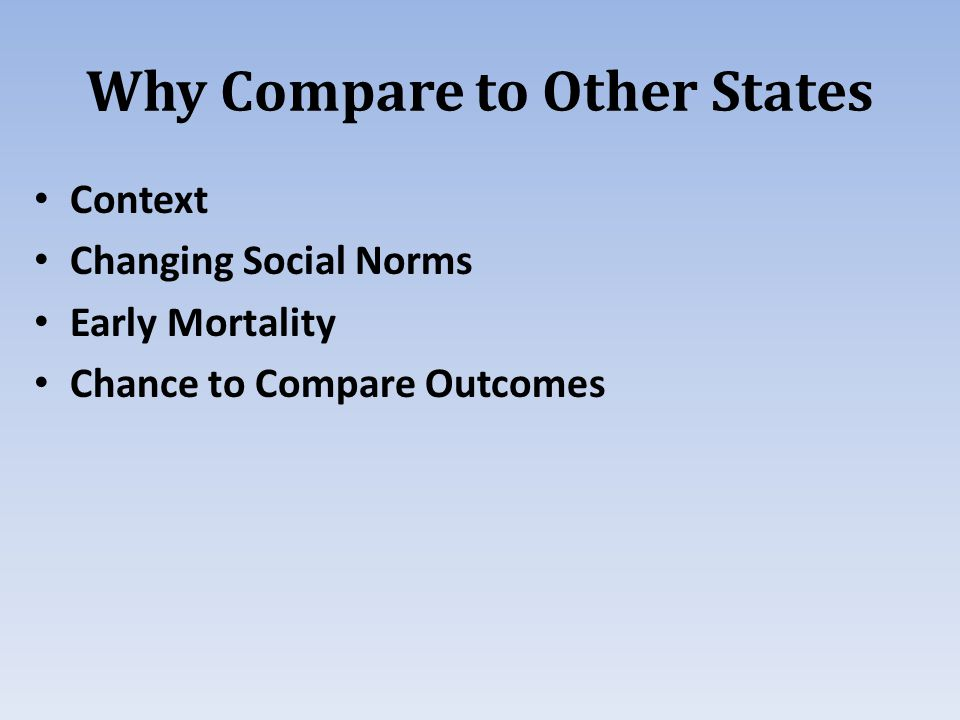 Why Compare to Other States Context Changing Social Norms Early Mortality Chance to Compare Outcomes