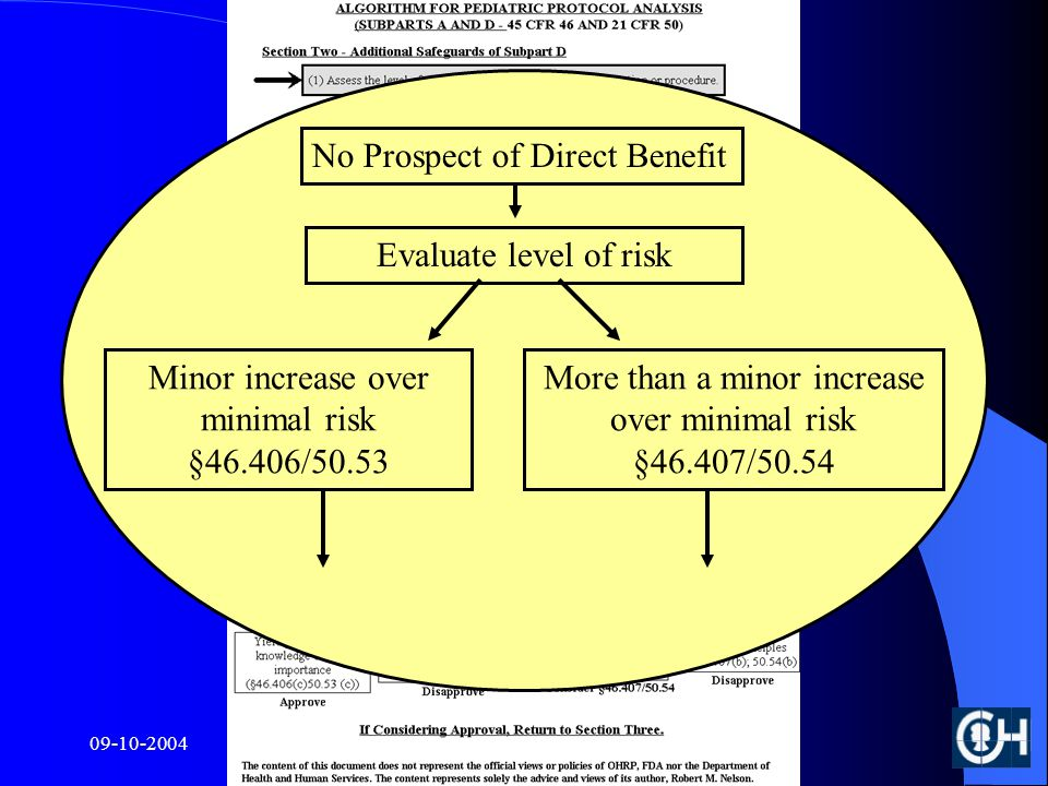 Evaluate level of risk Minor increase over minimal risk §46.406/50.53 No Prospect of Direct Benefit More than a minor increase over minimal risk §46.407/50.54