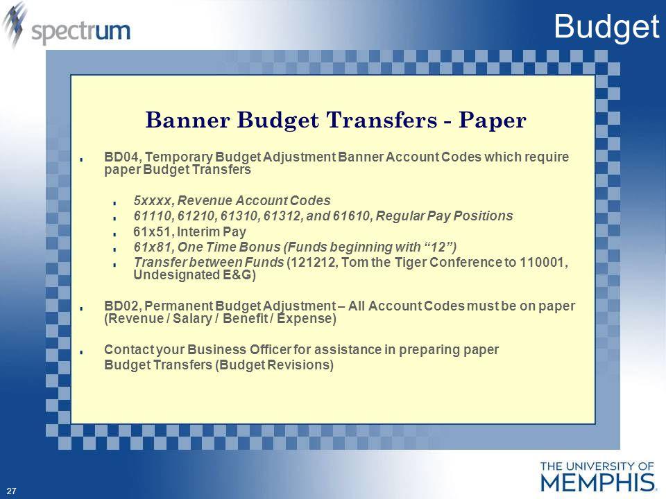 1 Spectrum Finance Budget Transfer Self Service Banner (SSB