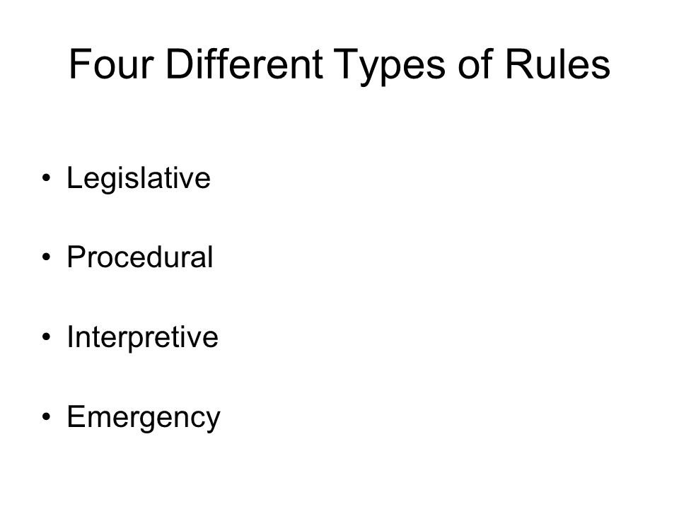 Four Different Types of Rules Legislative Procedural Interpretive Emergency