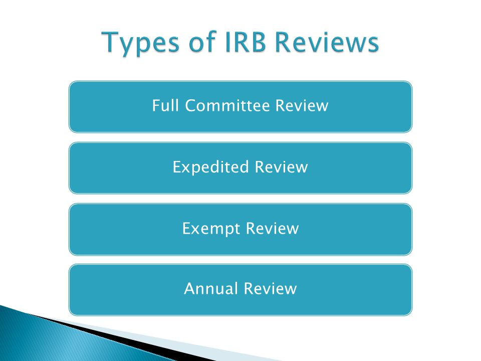 Full Committee ReviewExpedited ReviewExempt ReviewAnnual Review