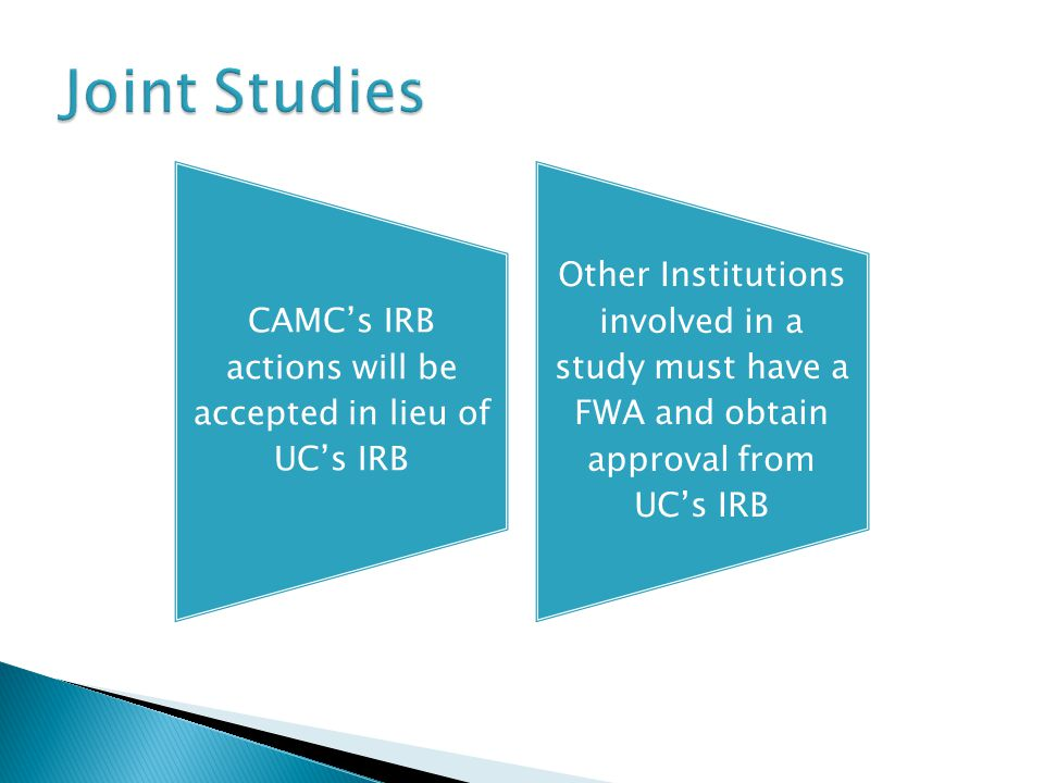 CAMC's IRB actions will be accepted in lieu of UC's IRB Other Institutions involved in a study must have a FWA and obtain approval from UC's IRB