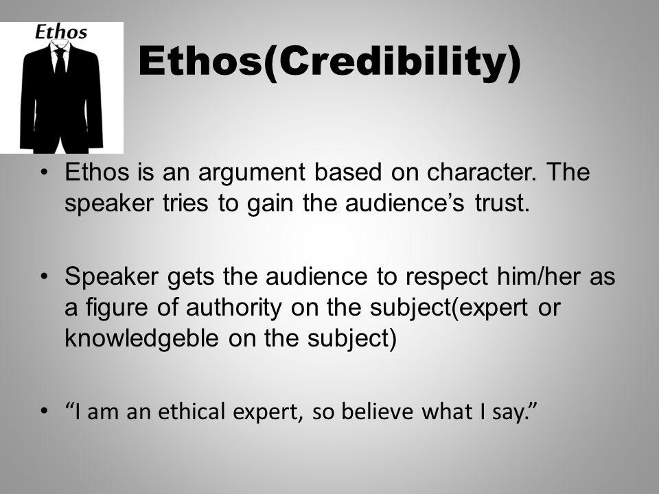 Modes of Persuasion Ethos, Pathos, Logos  Ethos(Credibility