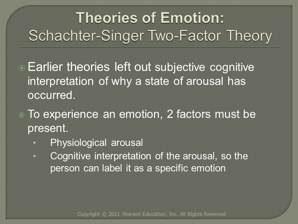  Earlier theories left out subjective cognitive interpretation of why a state of arousal has occurred.