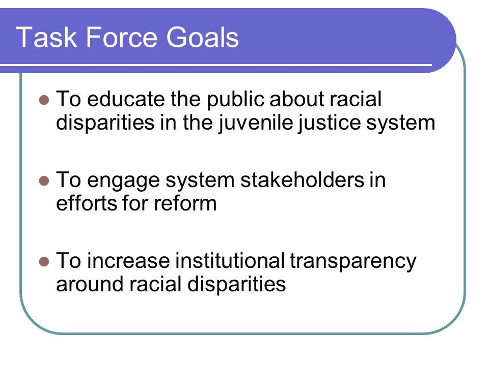 Task Force Goals To educate the public about racial disparities in the juvenile justice system To engage system stakeholders in efforts for reform To increase institutional transparency around racial disparities