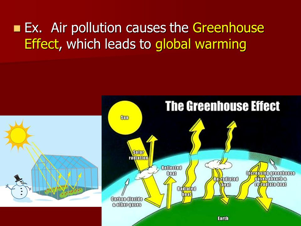 Ex. Air pollution causes the Greenhouse Effect, which leads to global warming Ex.