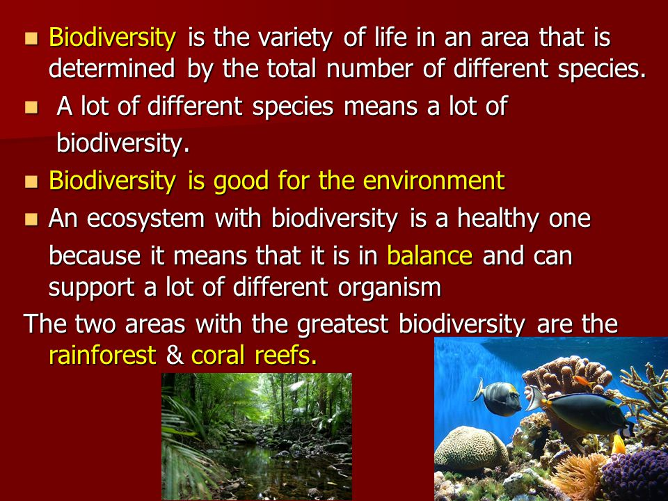 Biodiversity is the variety of life in an area that is determined by the total number of different species.