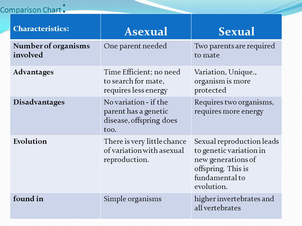 Difference between asexual and sexual reproduction offspring