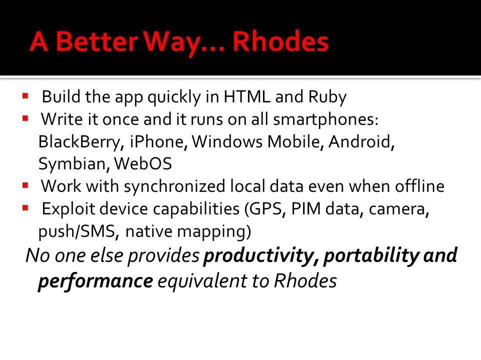 Rhodes, the Smartphone App Framework  Background