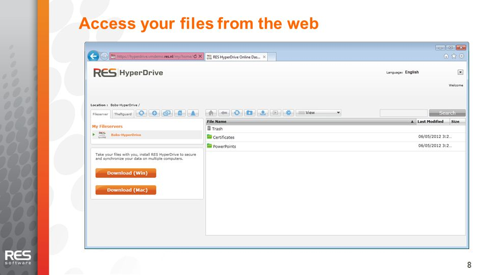 8 Access your files from the web
