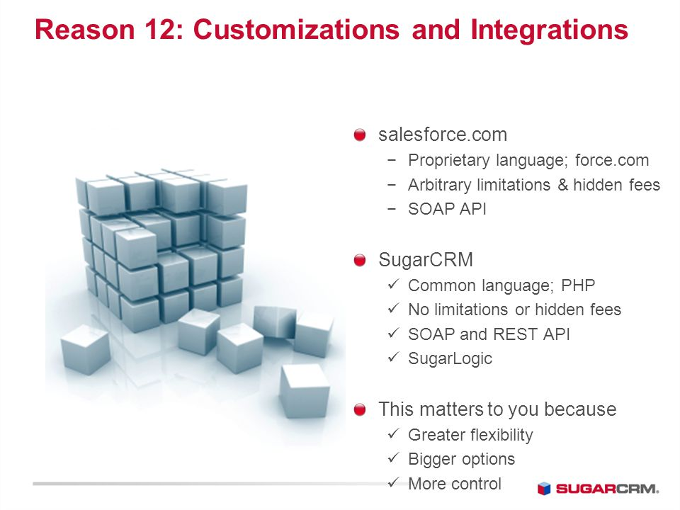 Top Reasons Customers Choose SugarCRM over salesforce com