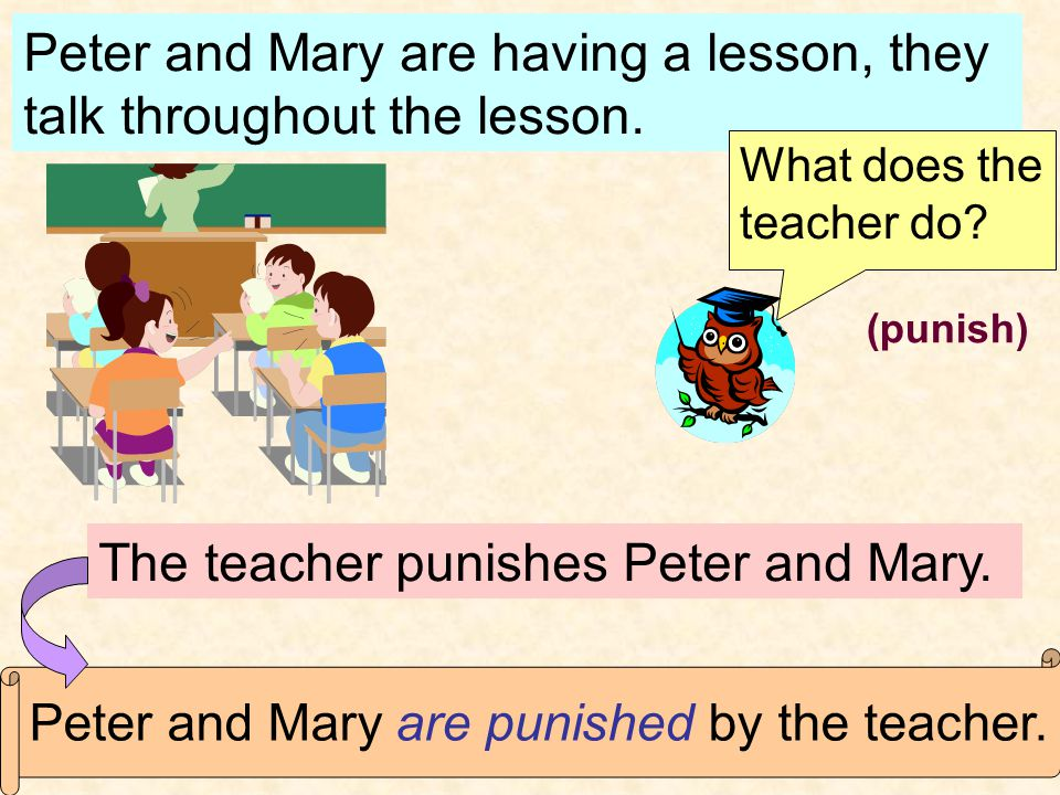 Peter and Mary are having a lesson, they talk throughout the lesson.