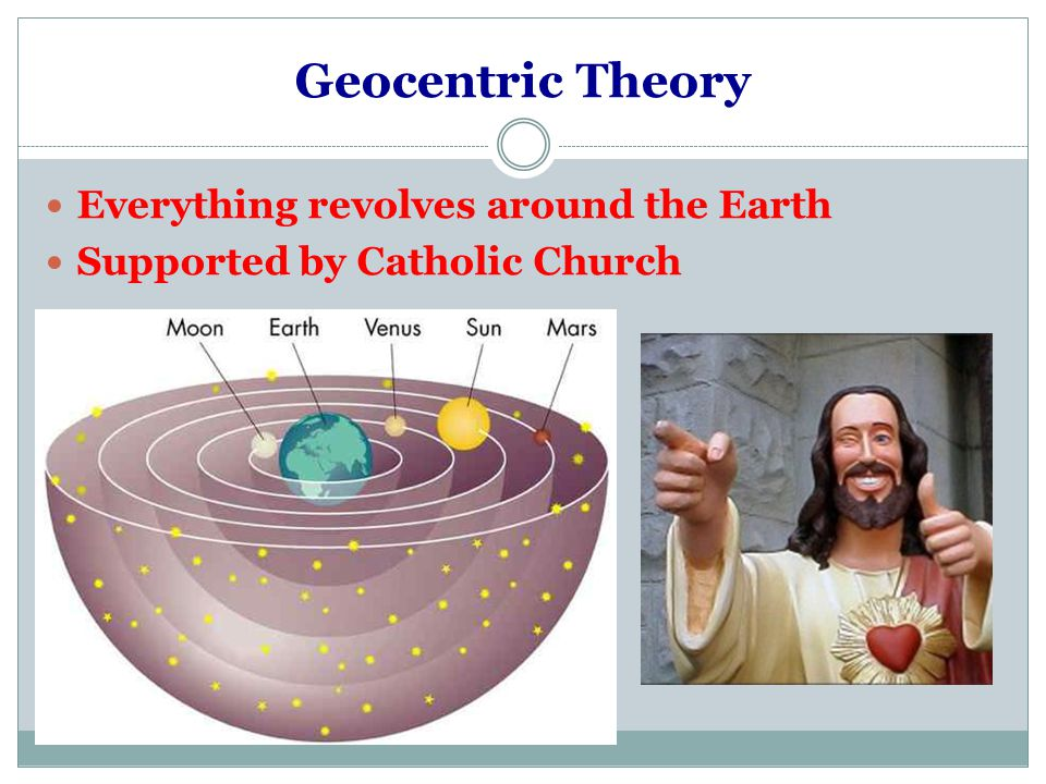 Geocentric Theory Everything revolves around the Earth Supported by Catholic Church
