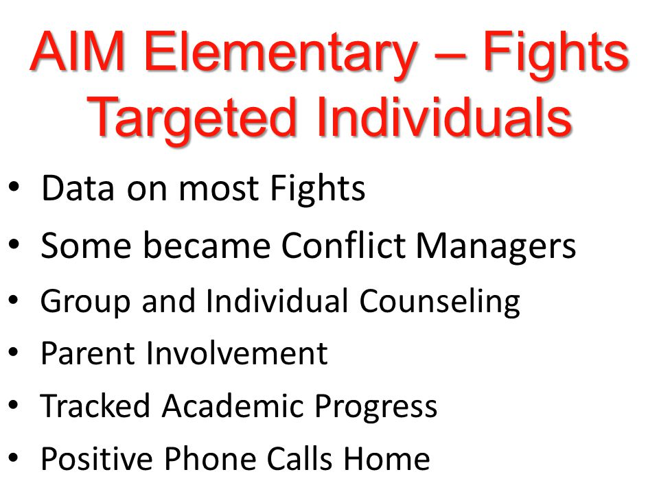 AIM Elementary – Fights Targeted Individuals Data on most Fights Some became Conflict Managers Group and Individual Counseling Parent Involvement Tracked Academic Progress Positive Phone Calls Home
