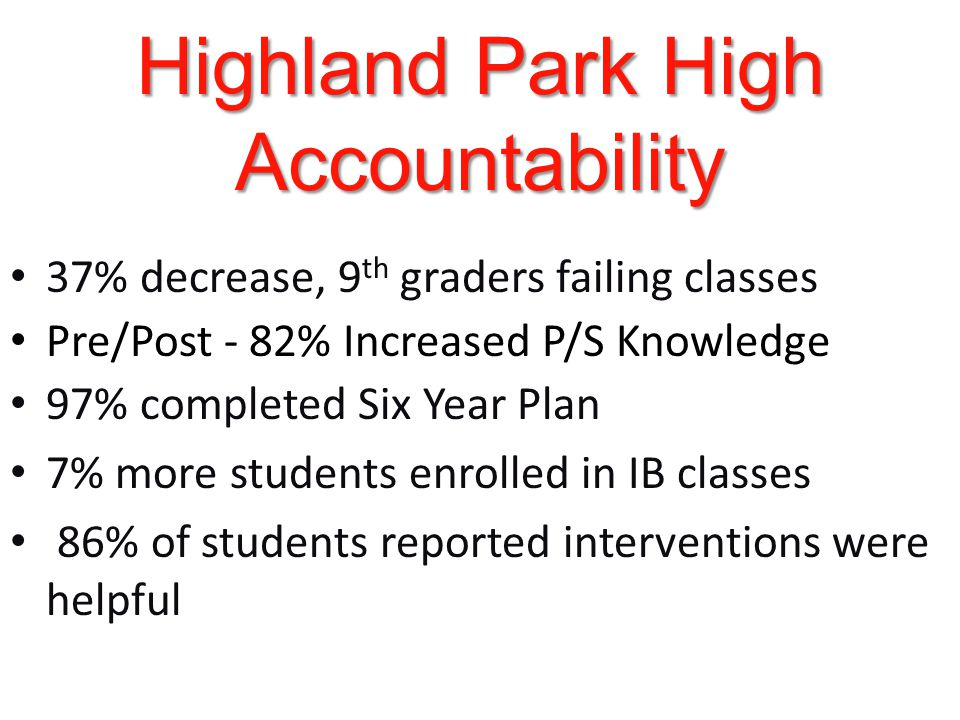 Highland Park High Accountability 37% decrease, 9 th graders failing classes Pre/Post - 82% Increased P/S Knowledge 97% completed Six Year Plan 7% more students enrolled in IB classes 86% of students reported interventions were helpful