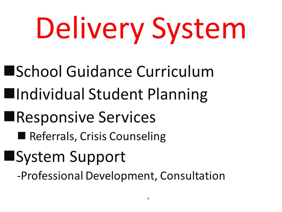 School Guidance Curriculum Individual Student Planning Responsive Services Referrals, Crisis Counseling System Support -Professional Development, Consultation 4