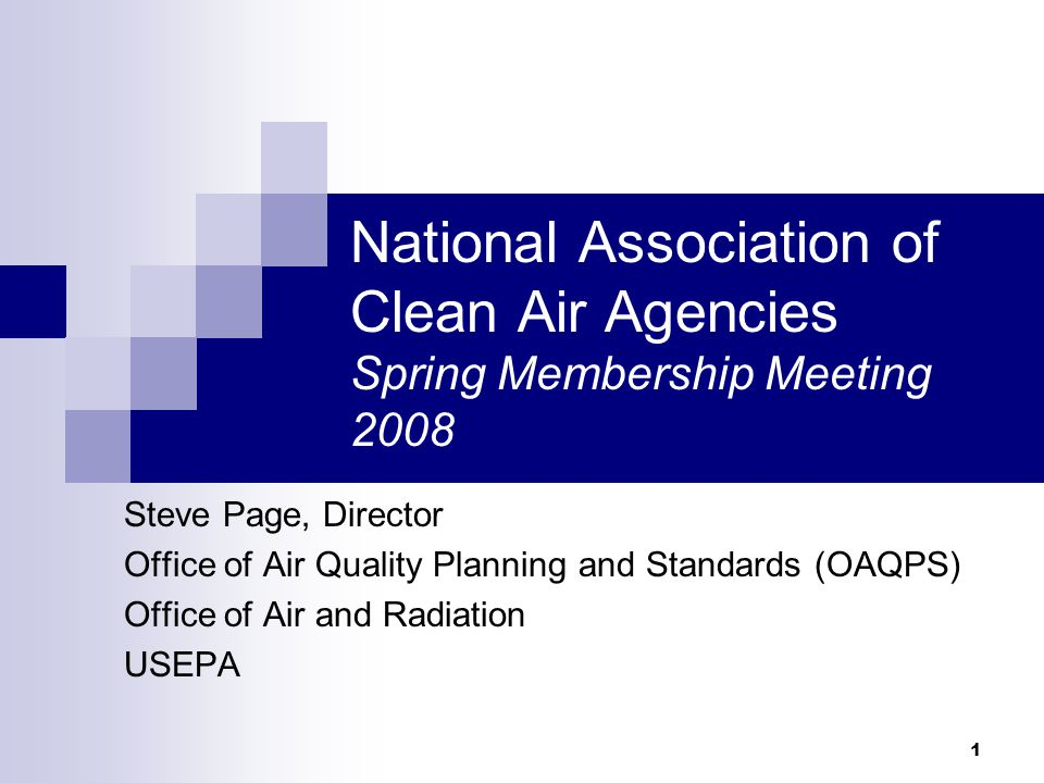 1 National Association of Clean Air Agencies Spring Membership Meeting 2008 Steve Page, Director Office of Air Quality Planning and Standards (OAQPS) Office of Air and Radiation USEPA