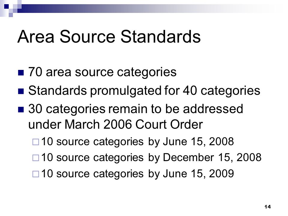 14 Area Source Standards 70 area source categories Standards promulgated for 40 categories 30 categories remain to be addressed under March 2006 Court Order  10 source categories by June 15, 2008  10 source categories by December 15, 2008  10 source categories by June 15, 2009