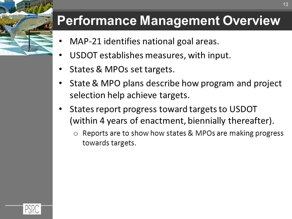 13 Performance Management Overview MAP-21 identifies national goal areas.