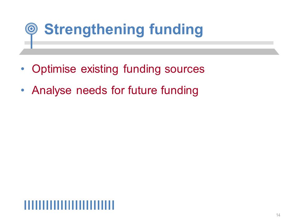 14 Strengthening funding Optimise existing funding sources Analyse needs for future funding