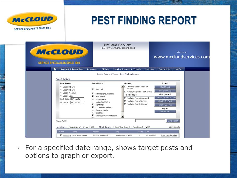 PEST FINDING REPORT → For a specified date range, shows target pests and options to graph or export.