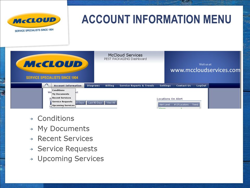 ACCOUNT INFORMATION MENU → Conditions → My Documents → Recent Services → Service Requests → Upcoming Services