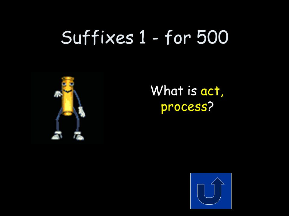 Suffixes 1- for 500 Remember to phrase your answer in the form of a question.