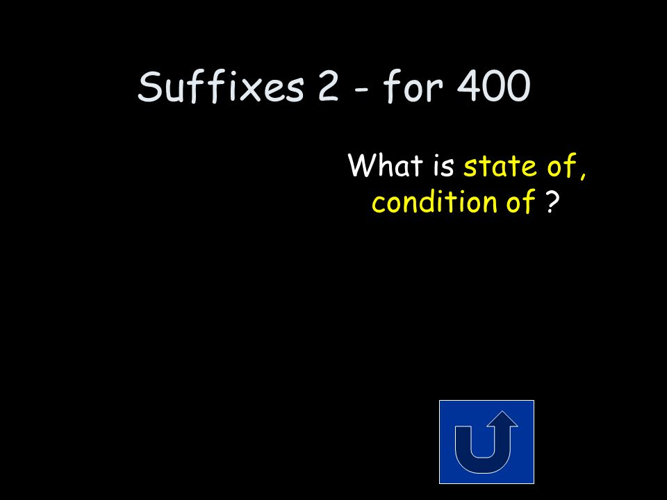 Suffixes 2 - for 400 The meaning of the suffix ness. Remember to phrase your answer in the form of a question!