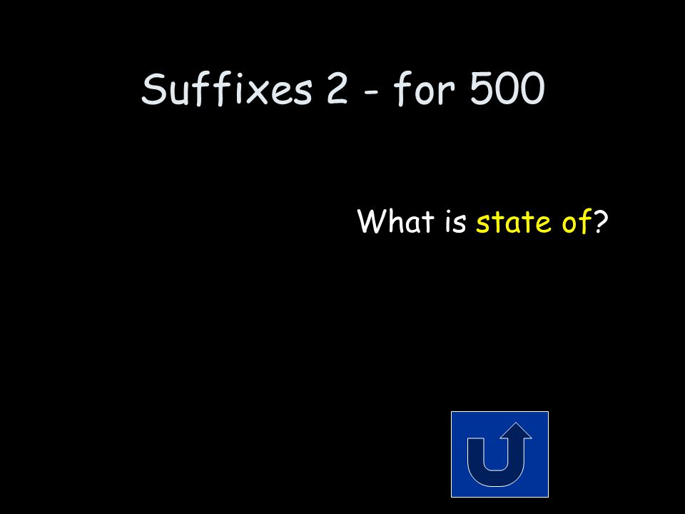 Suffixes 2 - for 500 Remember to phrase your answer in the form of a question.