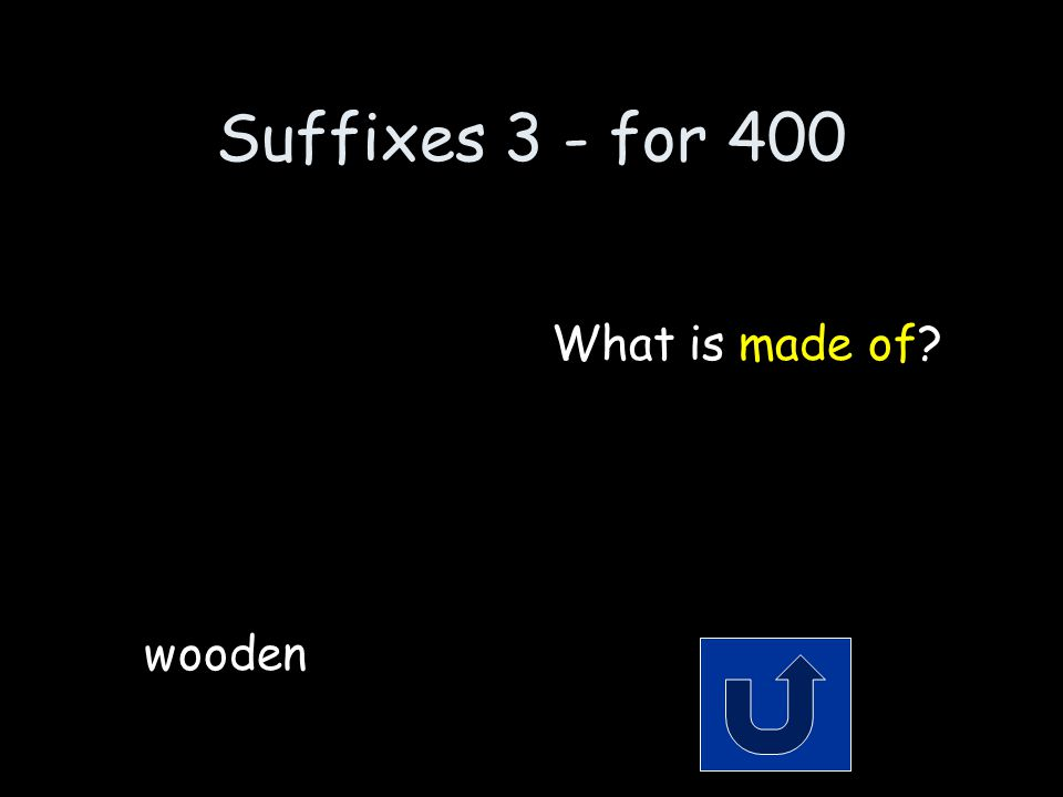 Suffixes 3 - for 400 Remember to phrase your answer in the form of a question.