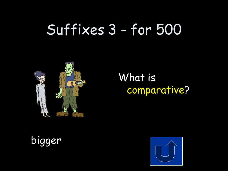 Suffixes 3 - for 500 Remember to phrase your answer in the form of a question.