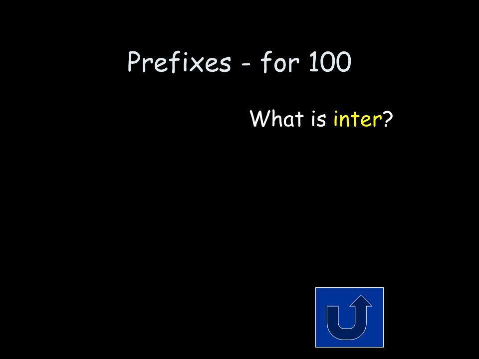 Prefixes- for 100 Remember to phrase your answer in the form of a question.