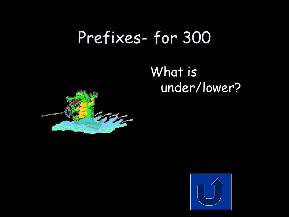 Prefixes- for 300 Remember to phrase your answer in the form of a question.