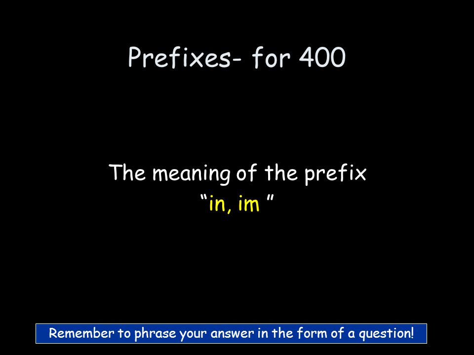 Prefixes- for 300 What is under/lower