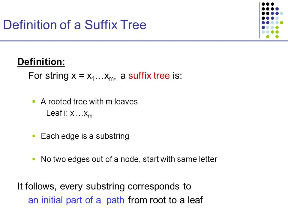 Definition of a Suffix Tree Definition: For string x = x 1 …x m, a suffix tree is:  A rooted tree with m leaves Leaf i: x i …x m  Each edge is a substring  No two edges out of a node, start with same letter It follows, every substring corresponds to an initial part of a path from root to a leaf
