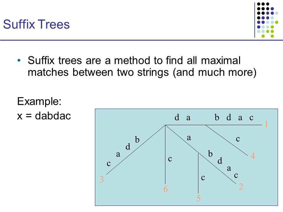 Suffix Trees Suffix trees are a method to find all maximal matches between two strings (and much more) Example: x = dabdac d ab d a c c a b d a c c c c a d b